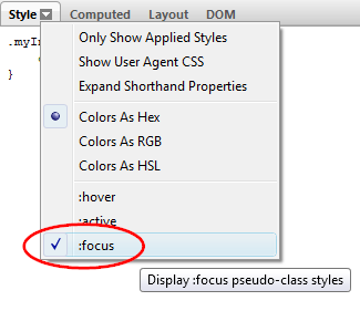 pseudo CSS class - :focus