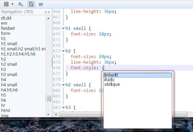 CSS auto-complete screenshot in LIVEditor (In-browser code editor
